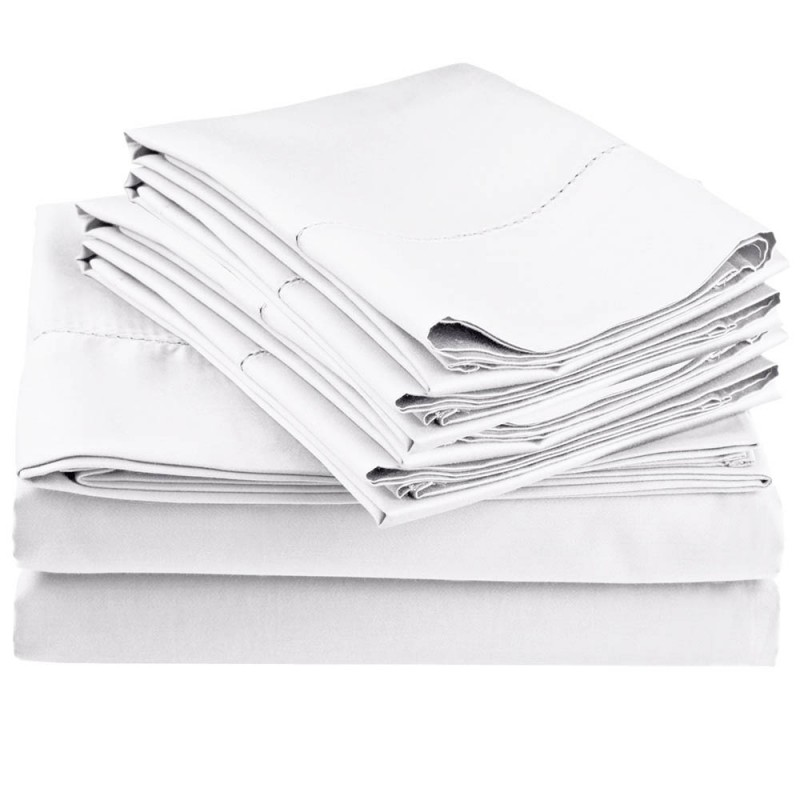 600tc Cotton Rich Hem Stitch Sheet Set w/ Bonus Pillowcases ...