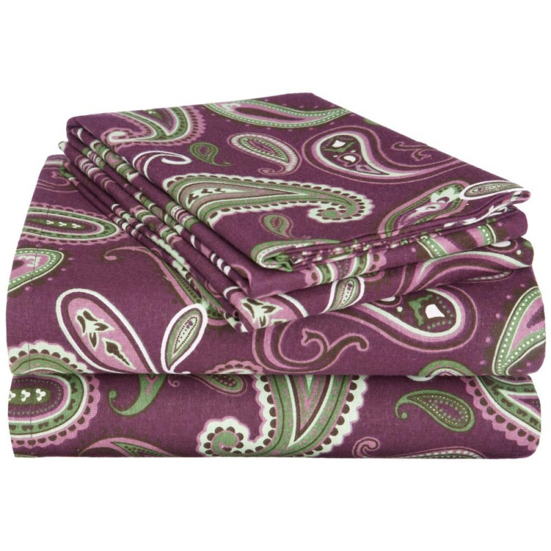 Flannel Cotton Paisley Sheet Set