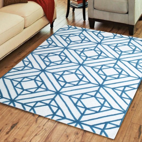 Hand Tufted Diamond Motif Wool Rug