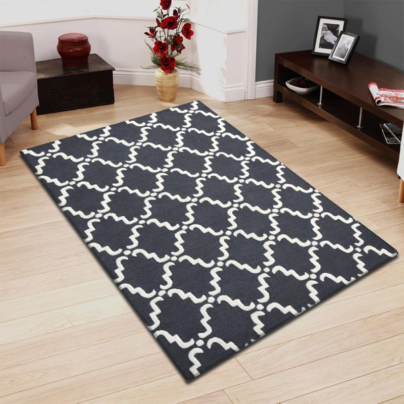 Hand Hooked Moroccan Lattice Wool Rug