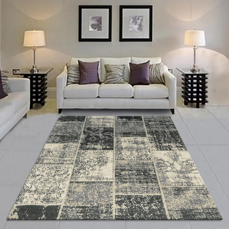 Brighton Patchwork Collection Hand Woven Jacquard Cotton Rug