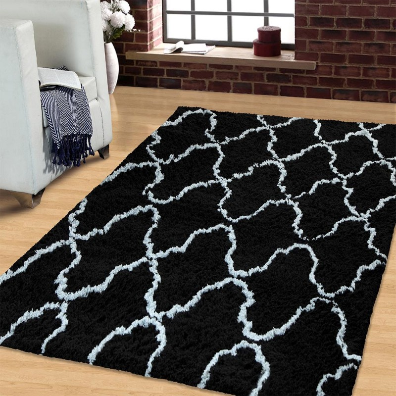 Trellis Collection Hand Woven And Soft Shag Rug