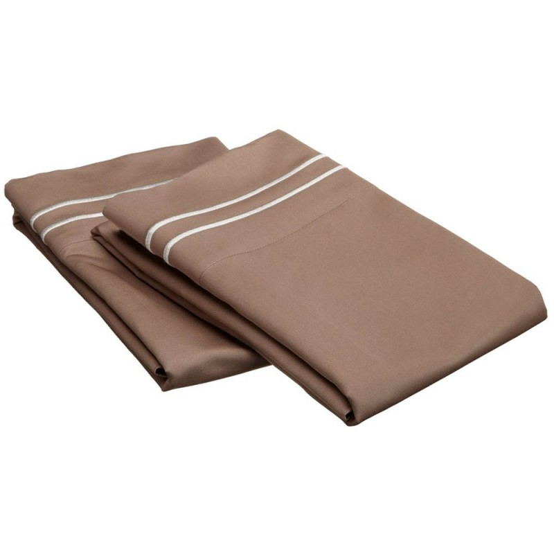 800tc Egyptian Cotton Solid Pillowcase Set with Embroidery