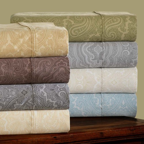 600tc Cotton Rich Italian Paisley Pillowcase Set