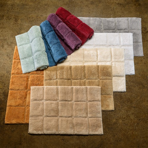 Luxurious Cotton Non-Skid 2pc Checkered Bath Rug Set