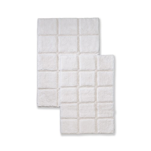 Luxurious Cotton Non-Skid 2pc Checkered Bath Rug Set