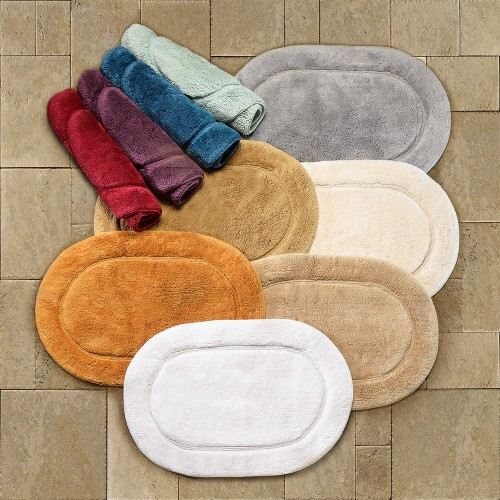 Luxurious Cotton Non Skid 2pc Oval Bath Rug Set ...