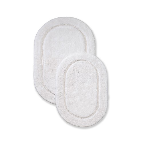 Luxurious Cotton Non-Skid 2pc Oval Bath Rug Set