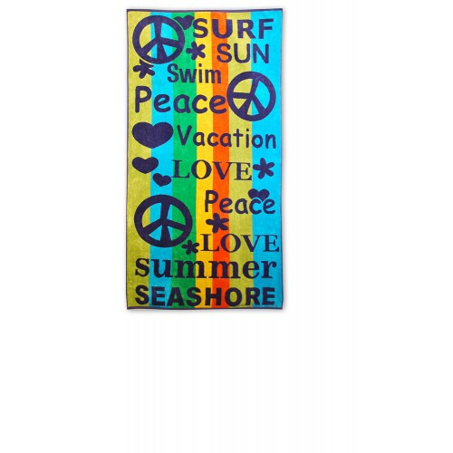 100% Cotton Peace/Love Oversized Beach Towel