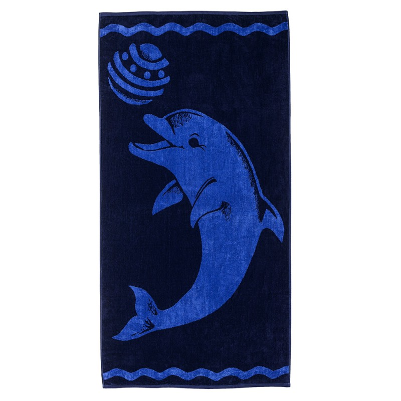 100% Cotton Playing Dolphin Oversized Beach Towel