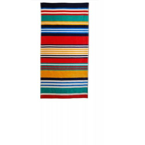 100% Cotton Multi-Colored Stripes Oversized Beach Towel
