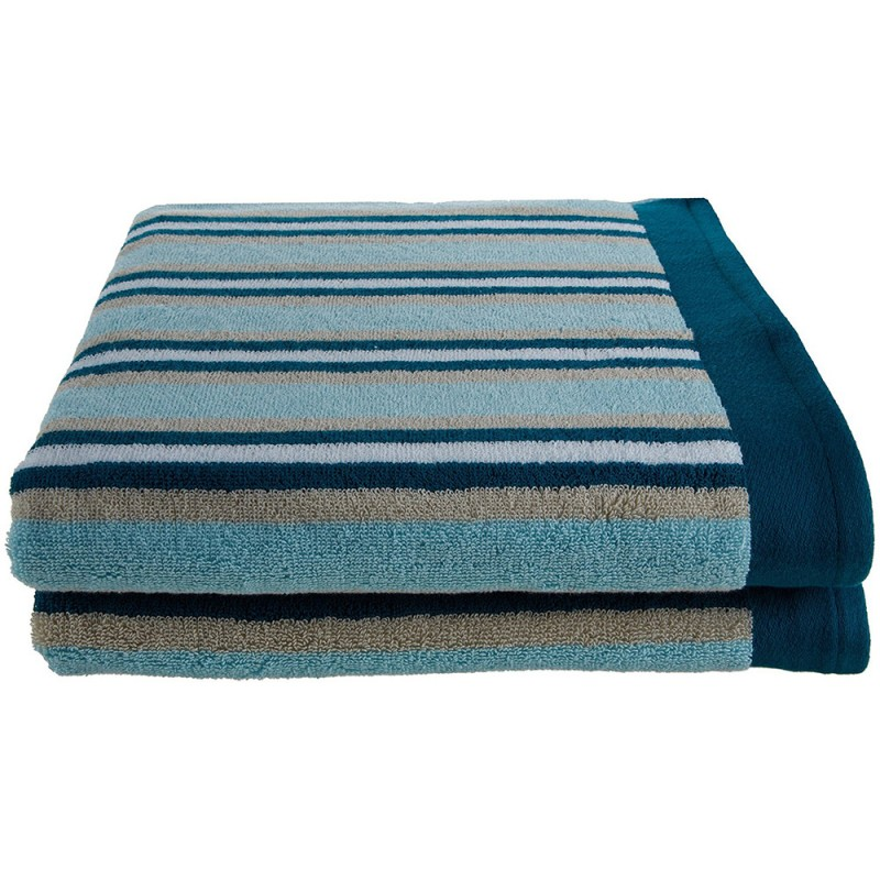 Stripe 100% Cotton 2-Piece Bath Towel Set