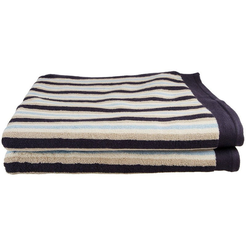 Stripe 100% Cotton 2-Piece Bath Sheet Towel Set